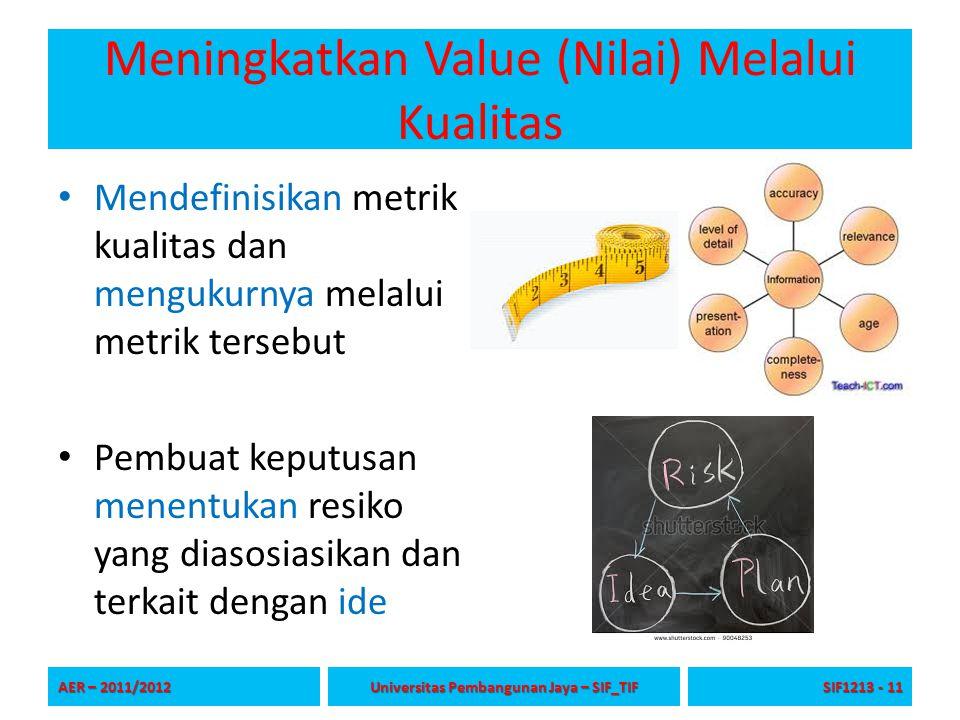 Meningkatkan Value (Nilai) Melalui Kualitas Mendefinisikan metrik kualitas dan mengukurnya melalui metrik tersebut Pembuat keputusan menentukan resiko