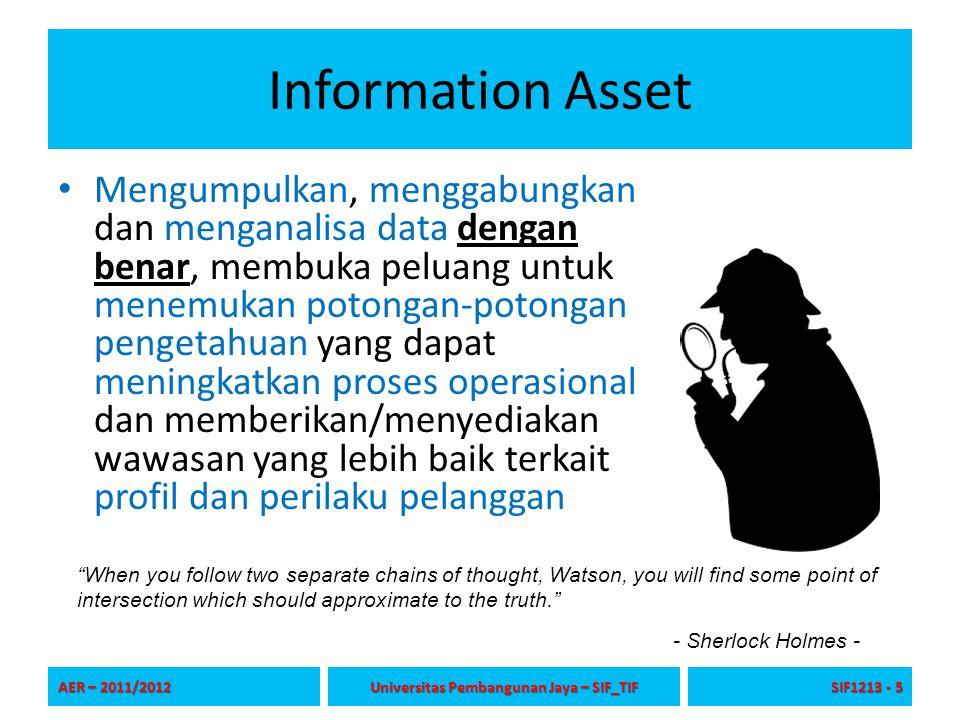 Information Asset Mengumpulkan, menggabungkan dan menganalisa data dengan benar, membuka peluang untuk menemukan potongan-potongan pengetahuan yang da
