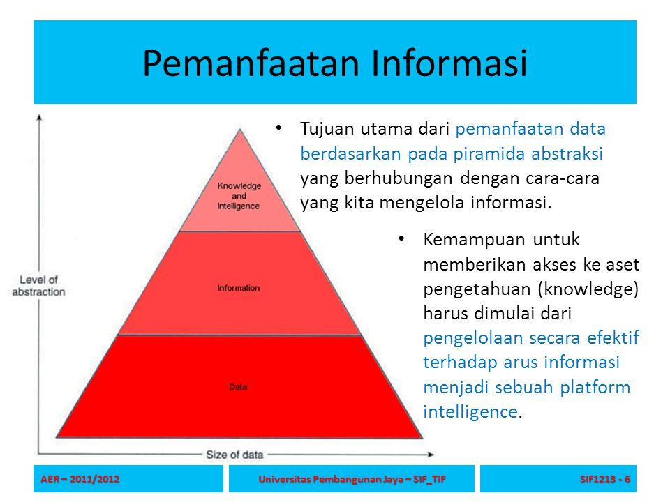Pemanfaatan Informasi Tujuan utama dari pemanfaatan data berdasarkan pada piramida abstraksi yang berhubungan dengan cara-cara yang kita mengelola inf