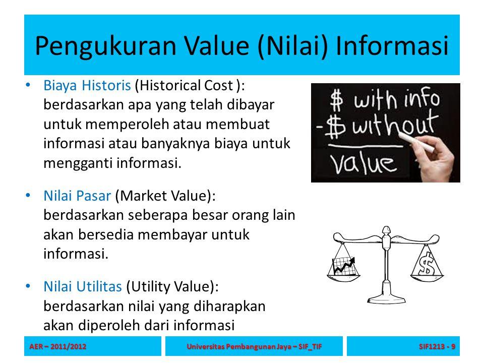 Pengukuran Value (Nilai) Informasi Biaya Historis (Historical Cost ): berdasarkan apa yang telah dibayar untuk memperoleh atau membuat informasi atau