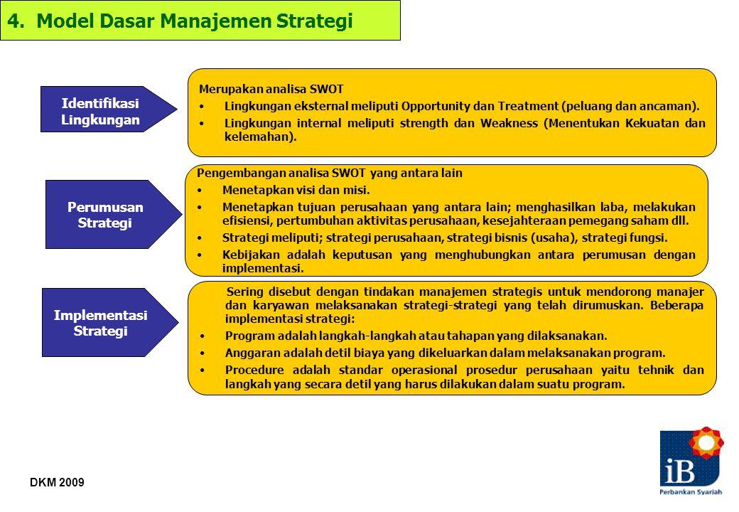 DKM 2009 Merupakan analisa SWOT Lingkungan eksternal meliputi Opportunity dan Treatment (peluang dan ancaman). Lingkungan internal meliputi strength d