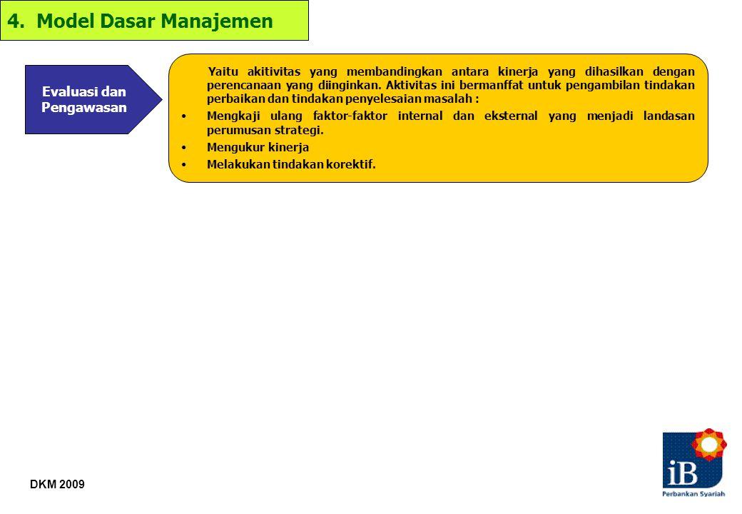 DKM 2009 4. Model Dasar Manajemen Evaluasi dan Pengawasan Yaitu akitivitas yang membandingkan antara kinerja yang dihasilkan dengan perencanaan yang d