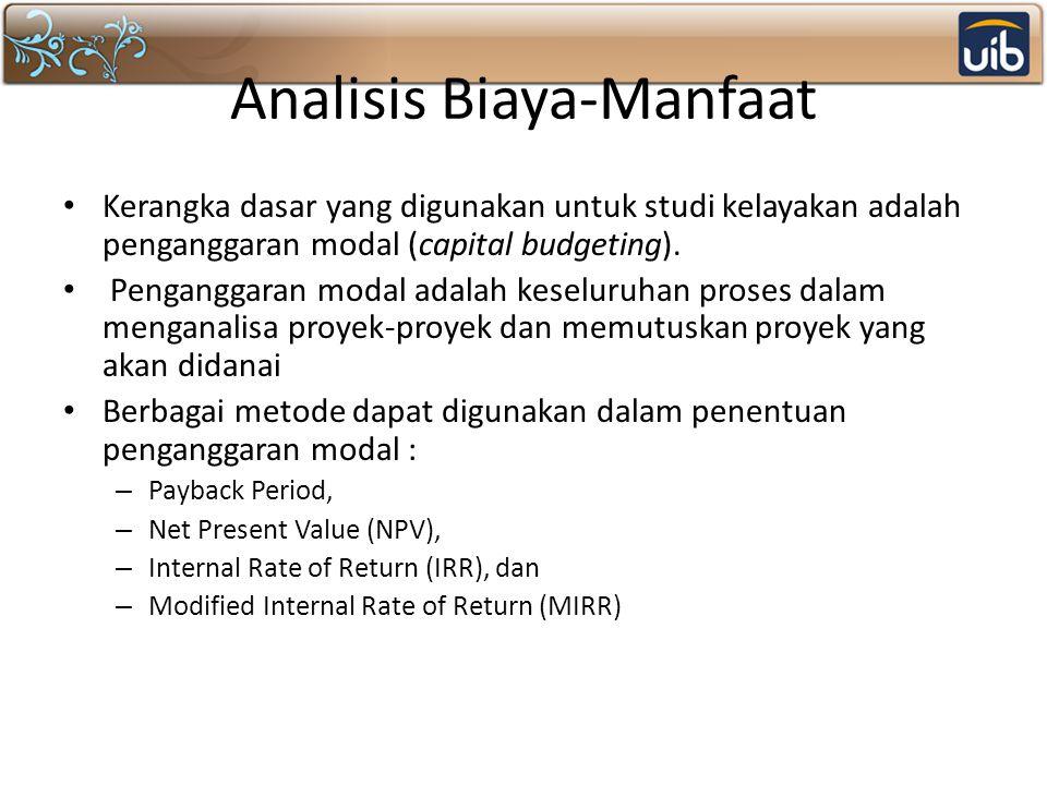 Analisis Biaya-Manfaat Kerangka dasar yang digunakan untuk studi kelayakan adalah penganggaran modal (capital budgeting). Penganggaran modal adalah ke