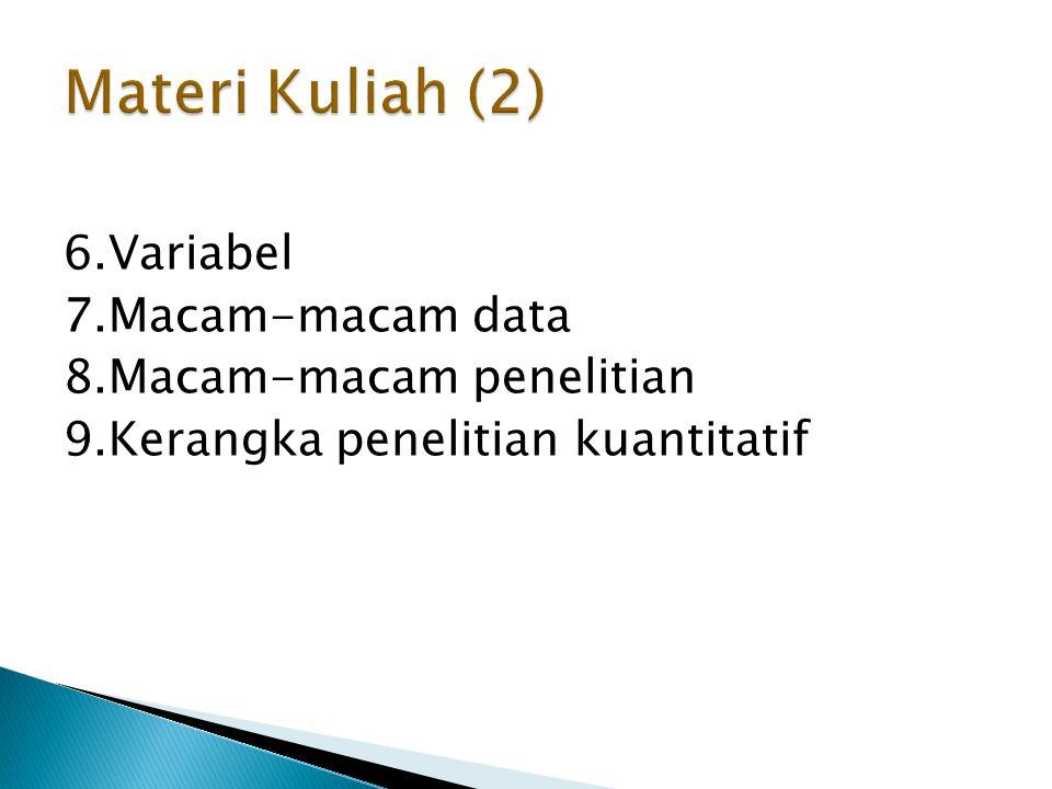 6.Variabel 7.Macam-macam data 8.Macam-macam penelitian 9.Kerangka penelitian kuantitatif