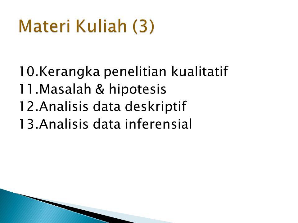 10.Kerangka penelitian kualitatif 11.Masalah & hipotesis 12.Analisis data deskriptif 13.Analisis data inferensial