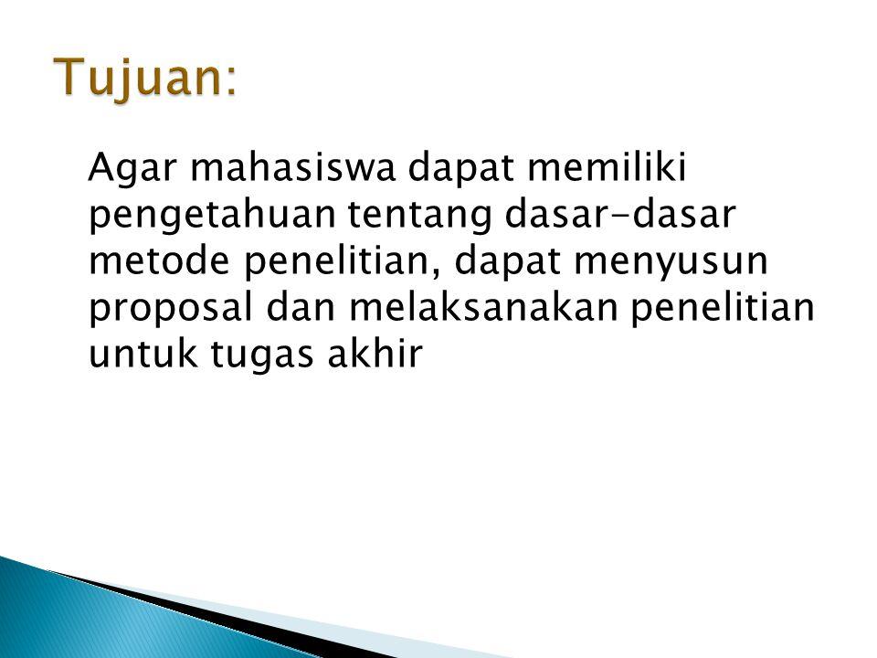 III.Metode Penelitian A. Tujuan khusus penelitian B.
