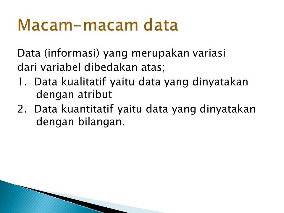 Data (informasi) yang merupakan variasi dari variabel dibedakan atas; 1.