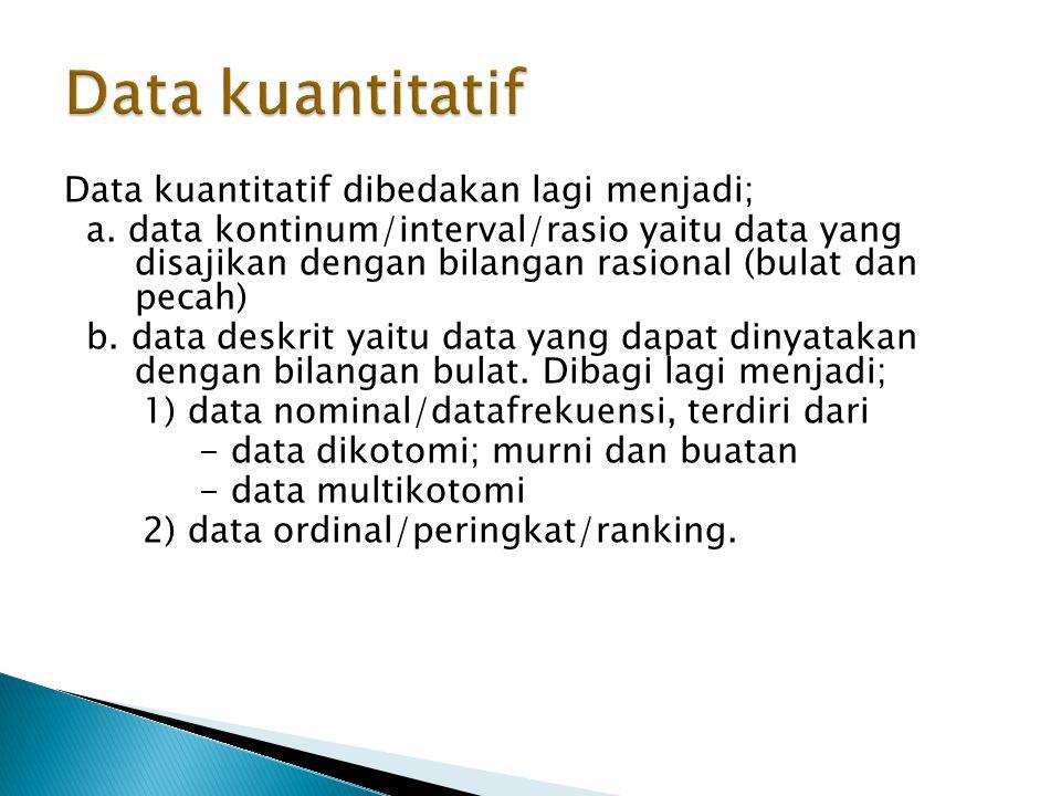 Data kuantitatif dibedakan lagi menjadi; a.