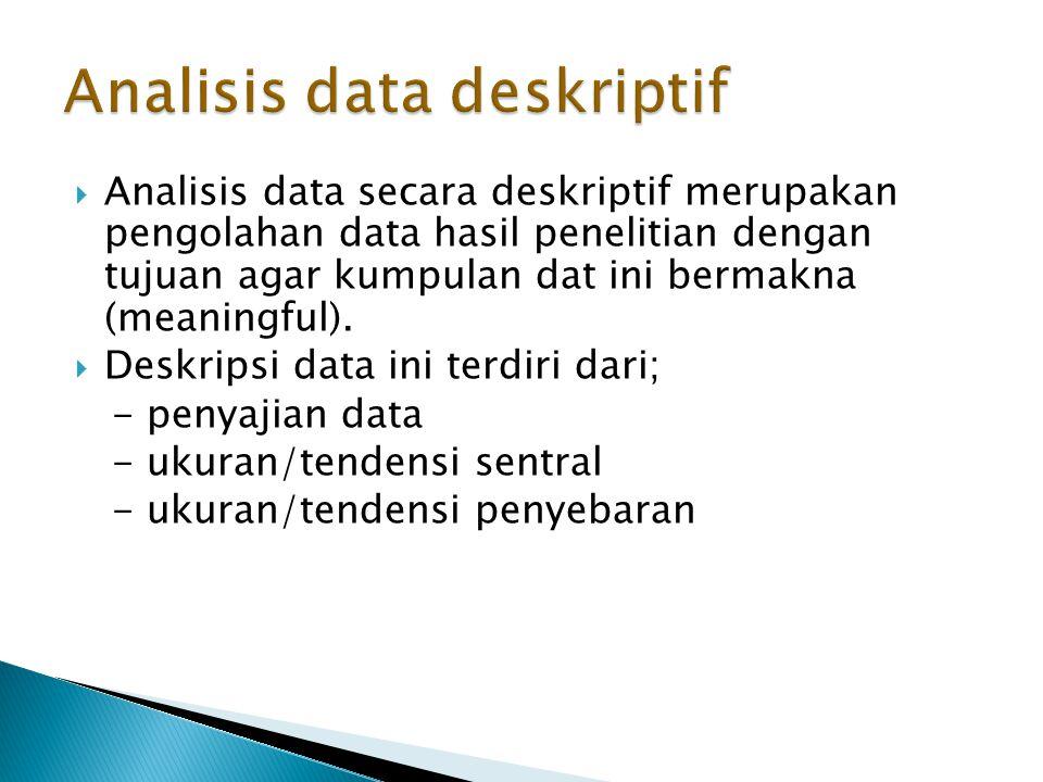  Analisis data secara deskriptif merupakan pengolahan data hasil penelitian dengan tujuan agar kumpulan dat ini bermakna (meaningful).