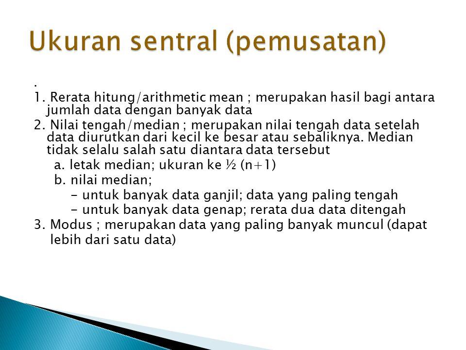 1.Rerata hitung/arithmetic mean ; merupakan hasil bagi antara jumlah data dengan banyak data 2.