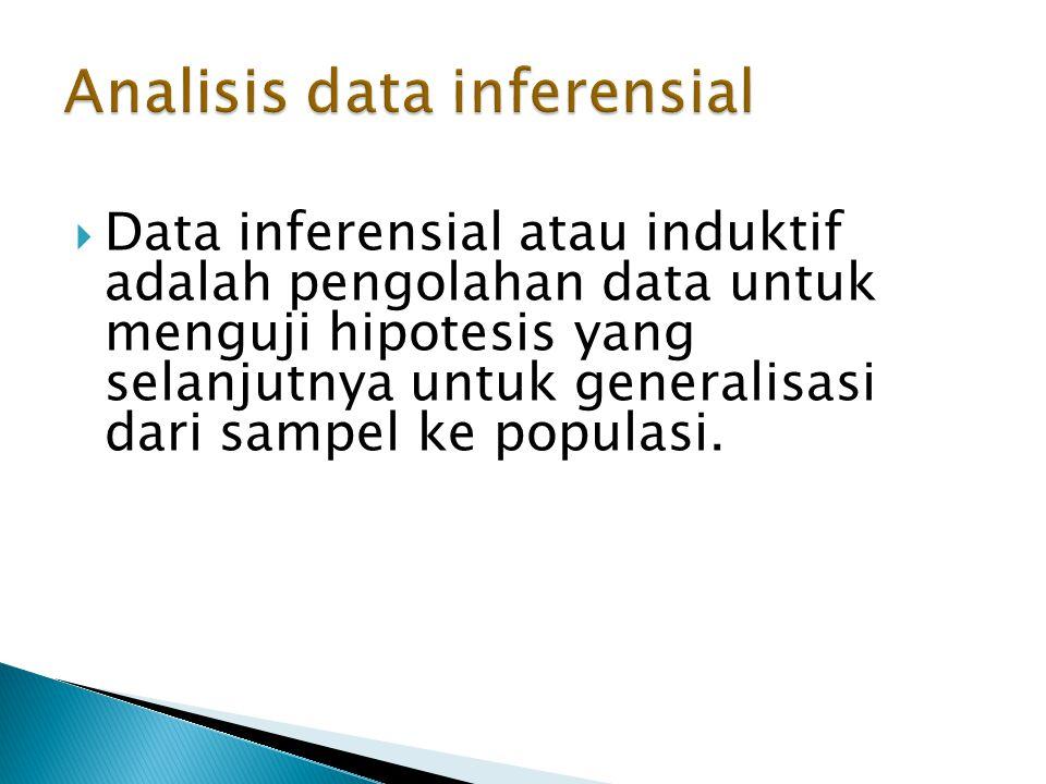  Data inferensial atau induktif adalah pengolahan data untuk menguji hipotesis yang selanjutnya untuk generalisasi dari sampel ke populasi.