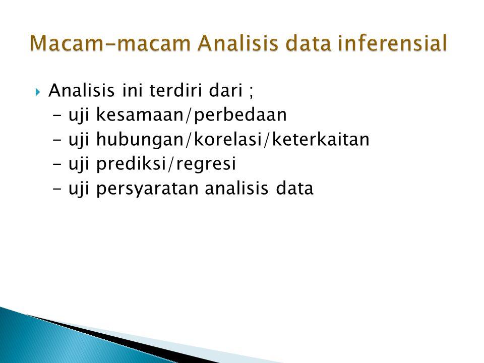  Analisis ini terdiri dari ; - uji kesamaan/perbedaan - uji hubungan/korelasi/keterkaitan - uji prediksi/regresi - uji persyaratan analisis data