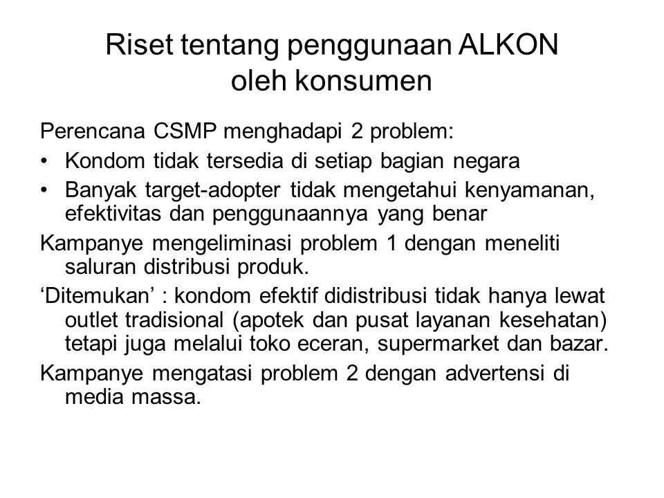 Riset tentang penggunaan ALKON oleh konsumen Perencana CSMP menghadapi 2 problem: Kondom tidak tersedia di setiap bagian negara Banyak target-adopter