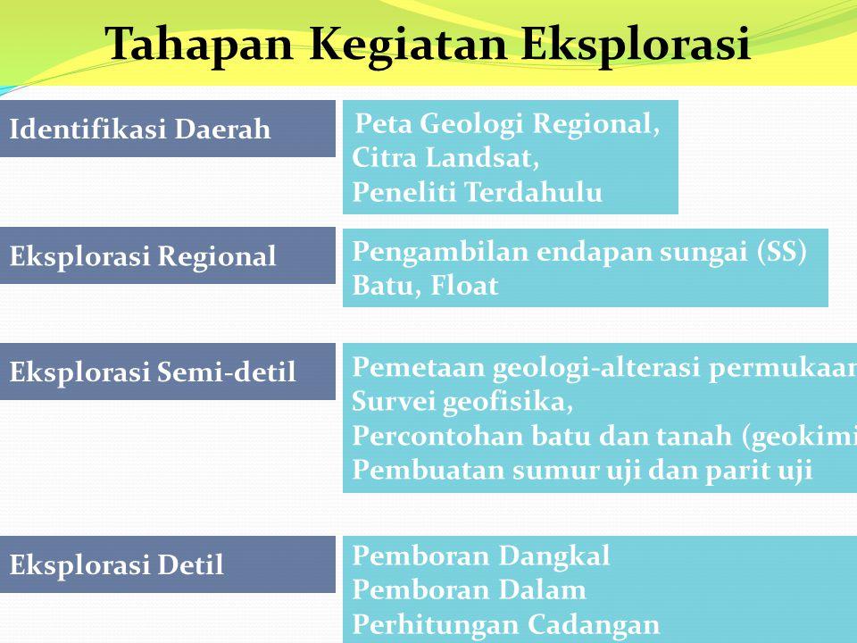 Peta Geologi Regional, Citra Landsat, Peneliti Terdahulu Eksplorasi Regional Eksplorasi Semi-detil Eksplorasi Detil Identifikasi Daerah Tahapan Kegiatan Eksplorasi Pengambilan endapan sungai (SS) Batu, Float Pemetaan geologi-alterasi permukaan Survei geofisika, Percontohan batu dan tanah (geokimia) Pembuatan sumur uji dan parit uji Pemboran Dangkal Pemboran Dalam Perhitungan Cadangan
