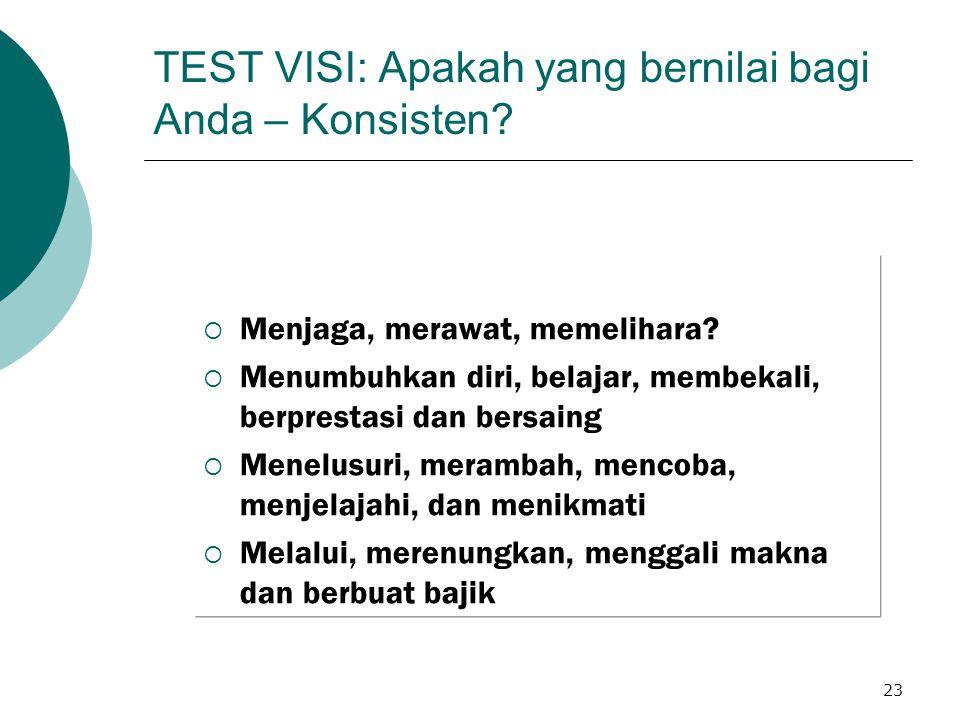 23 TEST VISI: Apakah yang bernilai bagi Anda – Konsisten.
