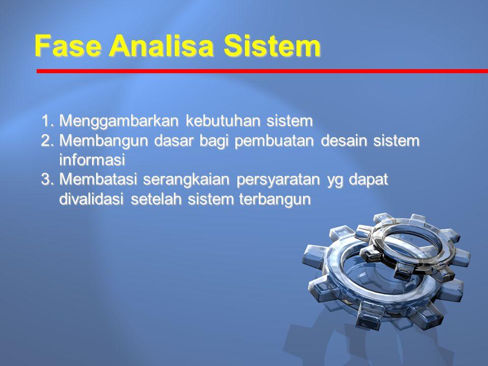 Fase Analisa Sistem 1.Menggambarkan kebutuhan sistem 2.Membangun dasar bagi pembuatan desain sistem informasi 3.Membatasi serangkaian persyaratan yg dapat divalidasi setelah sistem terbangun