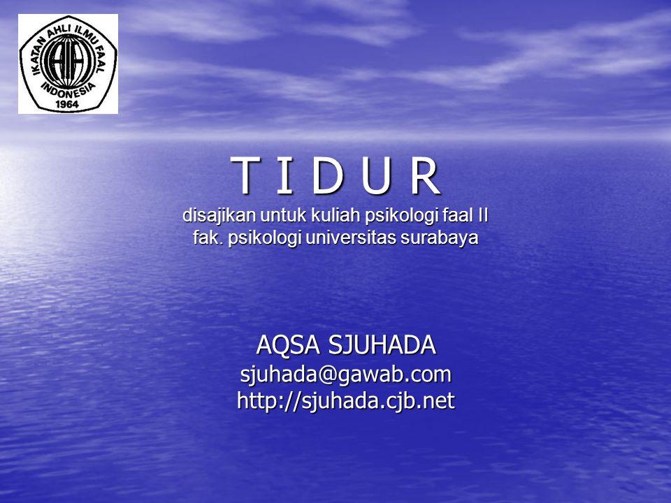 T I D U R disajikan untuk kuliah psikologi faal II fak. psikologi universitas surabaya AQSA SJUHADA sjuhada@gawab.comhttp://sjuhada.cjb.net
