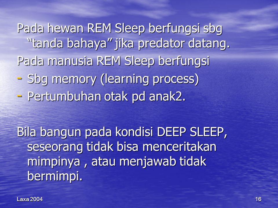 """Laxa 200416 Pada hewan REM Sleep berfungsi sbg """"tanda bahaya"""" jika predator datang. Pada manusia REM Sleep berfungsi - Sbg memory (learning process) -"""