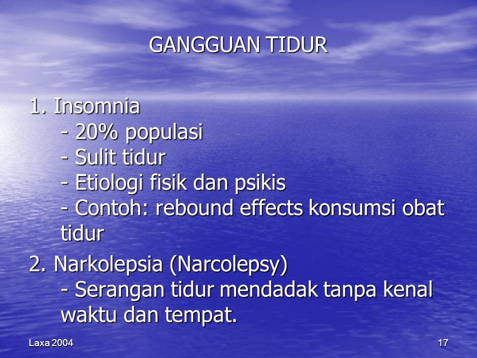 Laxa 200417 GANGGUAN TIDUR 1. Insomnia - 20% populasi - Sulit tidur - Etiologi fisik dan psikis - Contoh: rebound effects konsumsi obat tidur 2. Narko