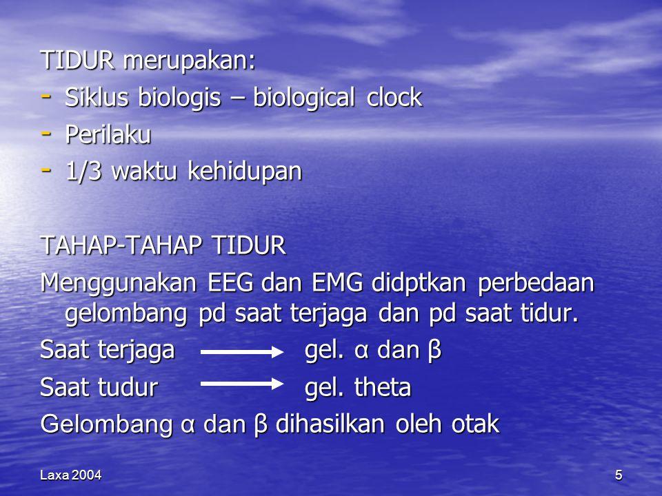 Laxa 20045 TIDUR merupakan: - Siklus biologis – biological clock - Perilaku - 1/3 waktu kehidupan TAHAP-TAHAP TIDUR Menggunakan EEG dan EMG didptkan perbedaan gelombang pd saat terjaga dan pd saat tidur.