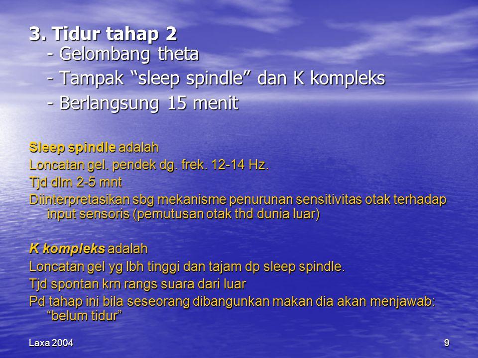 """9 3. Tidur tahap 2 - Gelombang theta - Tampak """"sleep spindle"""" dan K kompleks - Berlangsung 15 menit Sleep spindle adalah Loncatan gel. pendek dg. frek"""