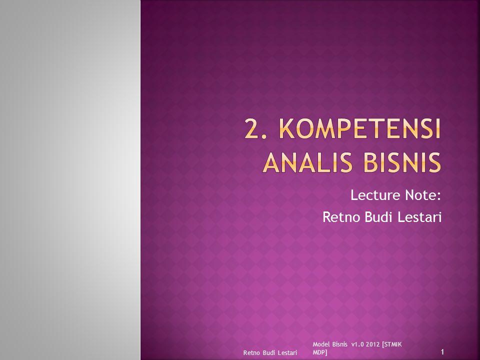 Lecture Note: Retno Budi Lestari Model Bisnis v1.0 2012 [STMIK MDP] Retno Budi Lestari 1