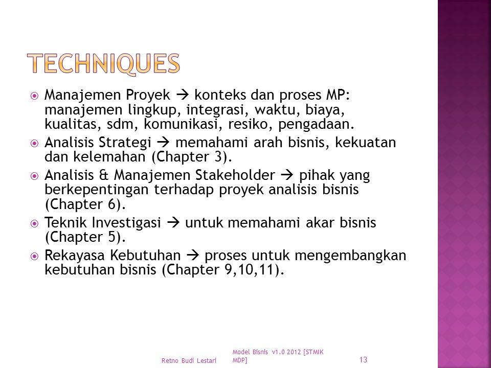  Manajemen Proyek  konteks dan proses MP: manajemen lingkup, integrasi, waktu, biaya, kualitas, sdm, komunikasi, resiko, pengadaan.  Analisis Strat