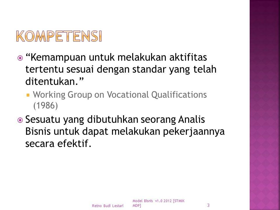 """ """"Kemampuan untuk melakukan aktifitas tertentu sesuai dengan standar yang telah ditentukan.""""  Working Group on Vocational Qualifications (1986)  Se"""