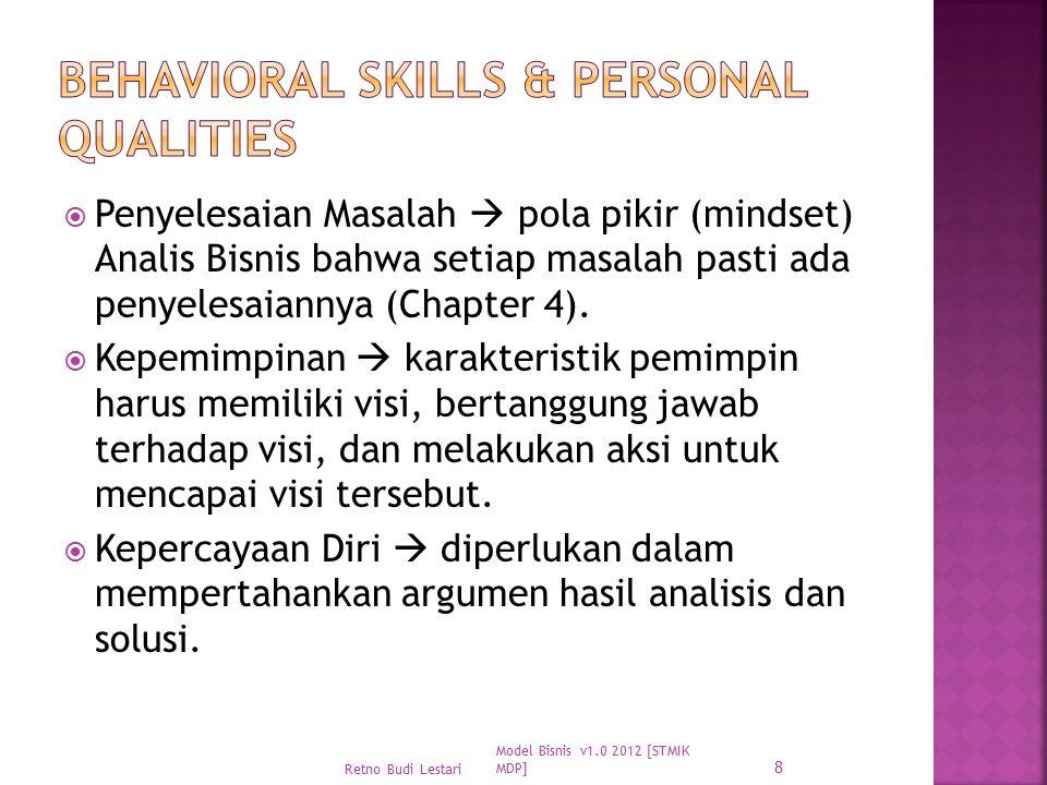  Penyelesaian Masalah  pola pikir (mindset) Analis Bisnis bahwa setiap masalah pasti ada penyelesaiannya (Chapter 4).  Kepemimpinan  karakteristik