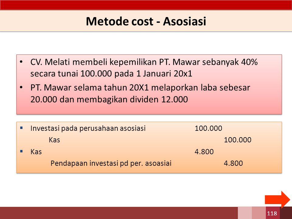 Metode cost - Asosiasi CV. Melati membeli kepemilikan PT. Mawar sebanyak 40% secara tunai 100.000 pada 1 Januari 20x1 PT. Mawar selama tahun 20X1 mela