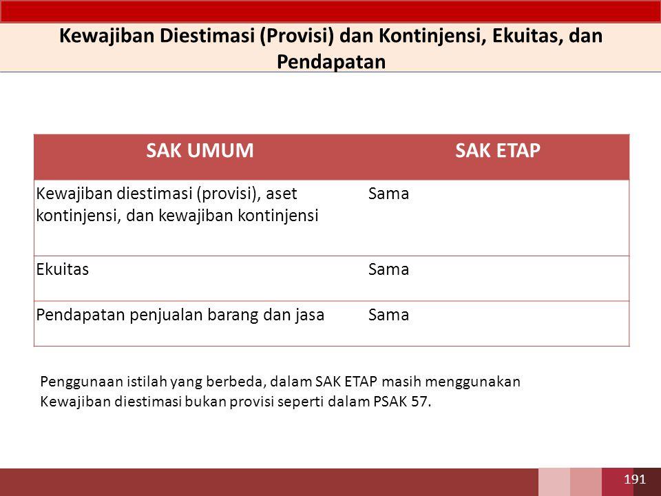 SAK UMUMSAK ETAP Kewajiban diestimasi (provisi), aset kontinjensi, dan kewajiban kontinjensi Sama EkuitasSama Pendapatan penjualan barang dan jasaSama