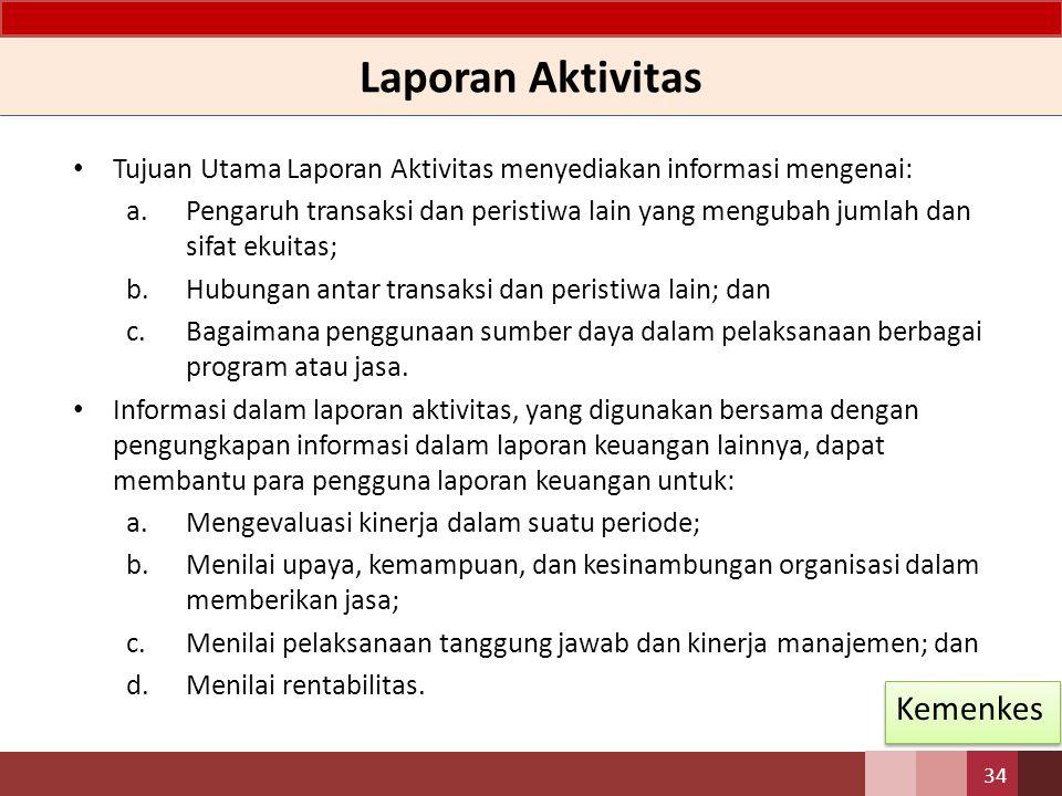 Laporan Aktivitas Tujuan Utama Laporan Aktivitas menyediakan informasi mengenai: a.Pengaruh transaksi dan peristiwa lain yang mengubah jumlah dan sifa