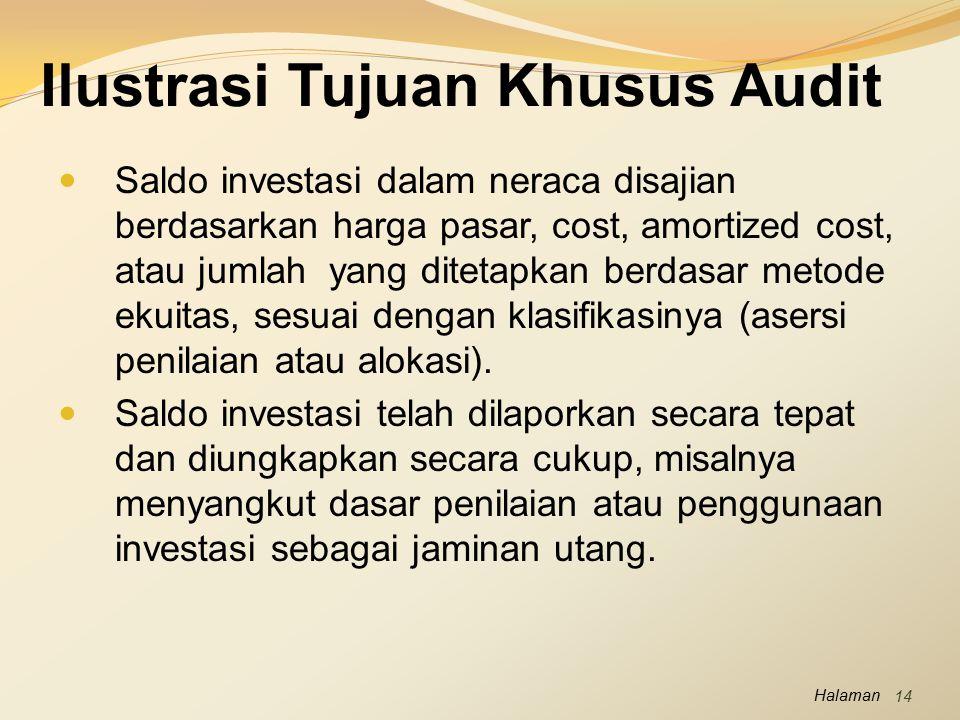 Halaman Ilustrasi Tujuan Khusus Audit Saldo investasi dalam neraca disajian berdasarkan harga pasar, cost, amortized cost, atau jumlah yang ditetapkan