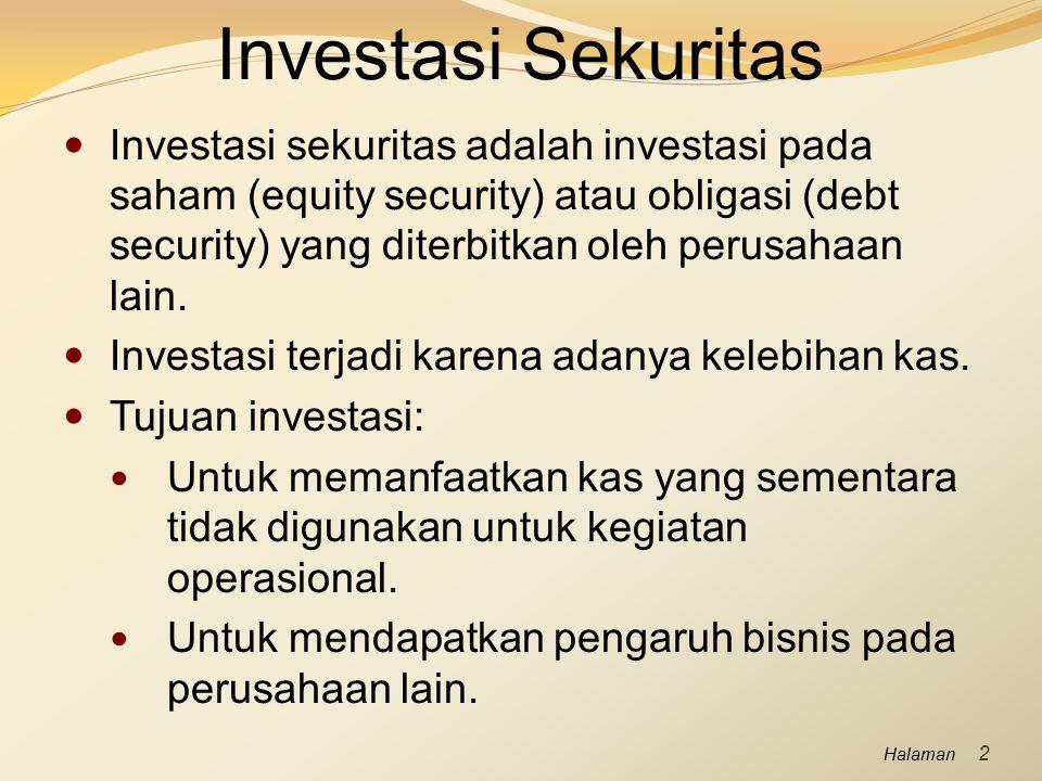 Halaman Investasi Sekuritas Investasi sekuritas adalah investasi pada saham (equity security) atau obligasi (debt security) yang diterbitkan oleh peru