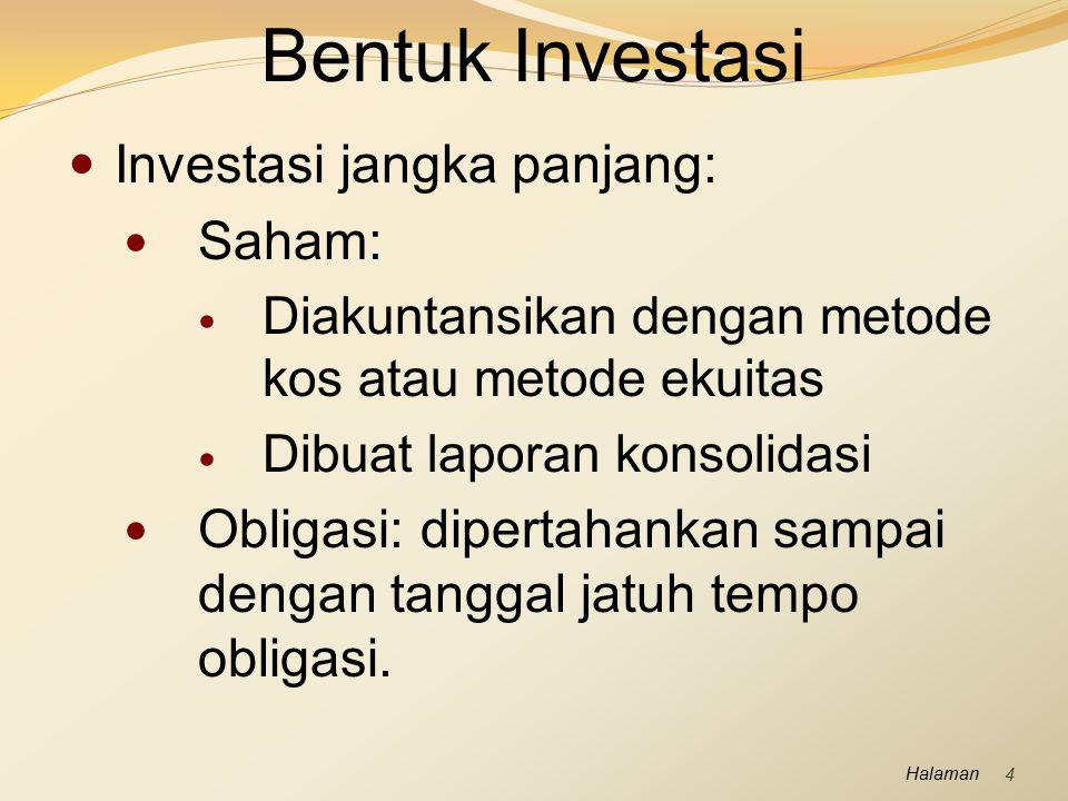 Halaman Pembelian investasi Penerimaan pendapatan investasi: dividen untuk saham dan bunga untuk obligasi.