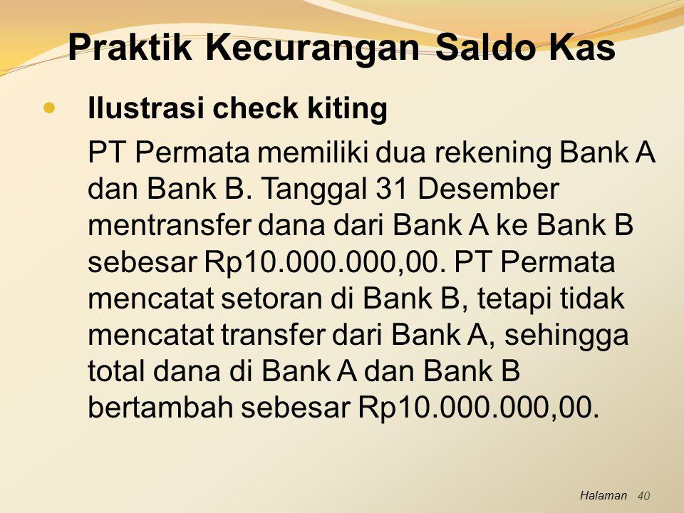 Halaman Praktik Kecurangan Saldo Kas Ilustrasi check kiting PT Permata memiliki dua rekening Bank A dan Bank B. Tanggal 31 Desember mentransfer dana d