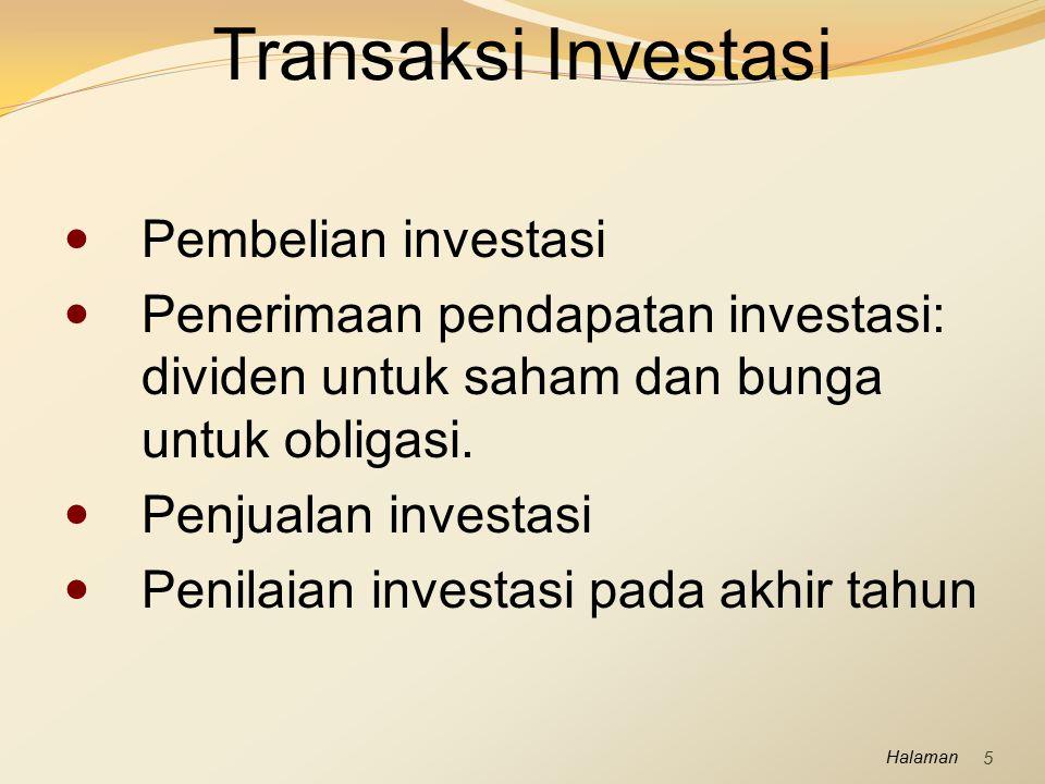Halaman Pembelian investasi Penerimaan pendapatan investasi: dividen untuk saham dan bunga untuk obligasi. Penjualan investasi Penilaian investasi pad