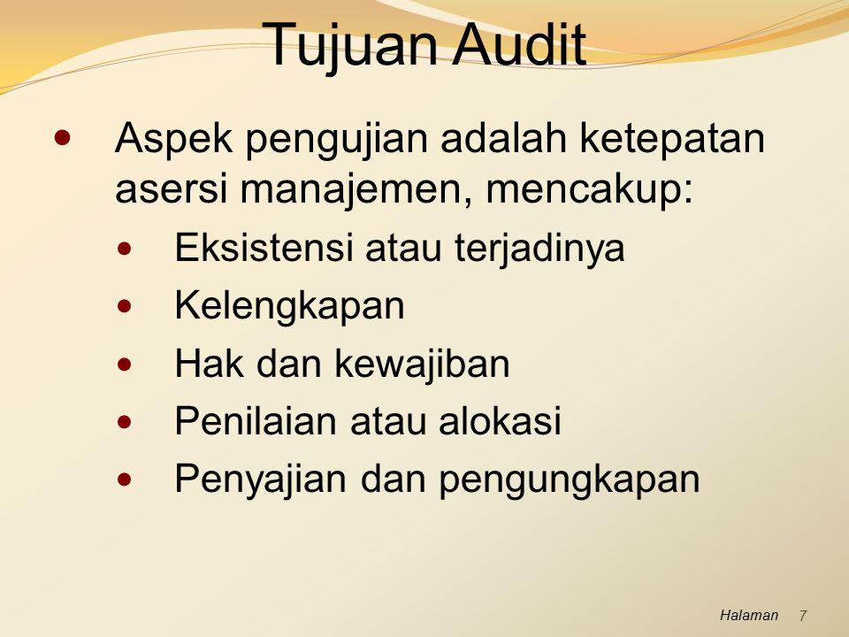 Halaman Audit Saldo Kas Komponen Saldo Kas Penerimaan yang belum disetor, kas di bank dalam rekening giro, dana yang dikelola dengan sistem dana tetap (imprest system), seperti dana kas kecil dan rekening gaji.