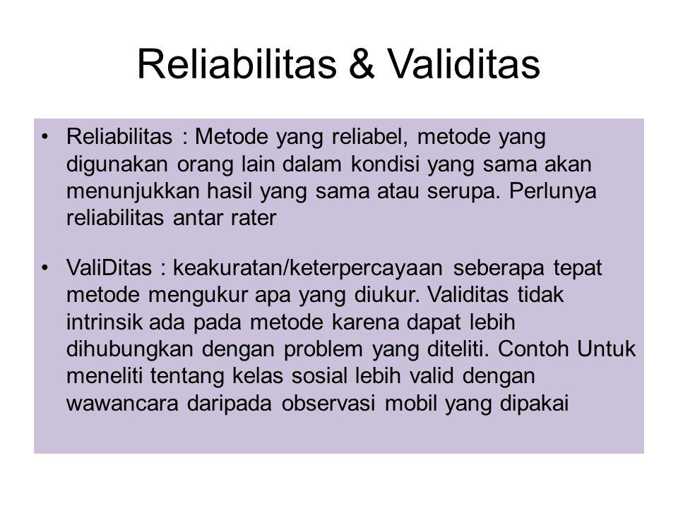 Reliabilitas & Validitas Reliabilitas : Metode yang reliabel, metode yang digunakan orang lain dalam kondisi yang sama akan menunjukkan hasil yang sama atau serupa.