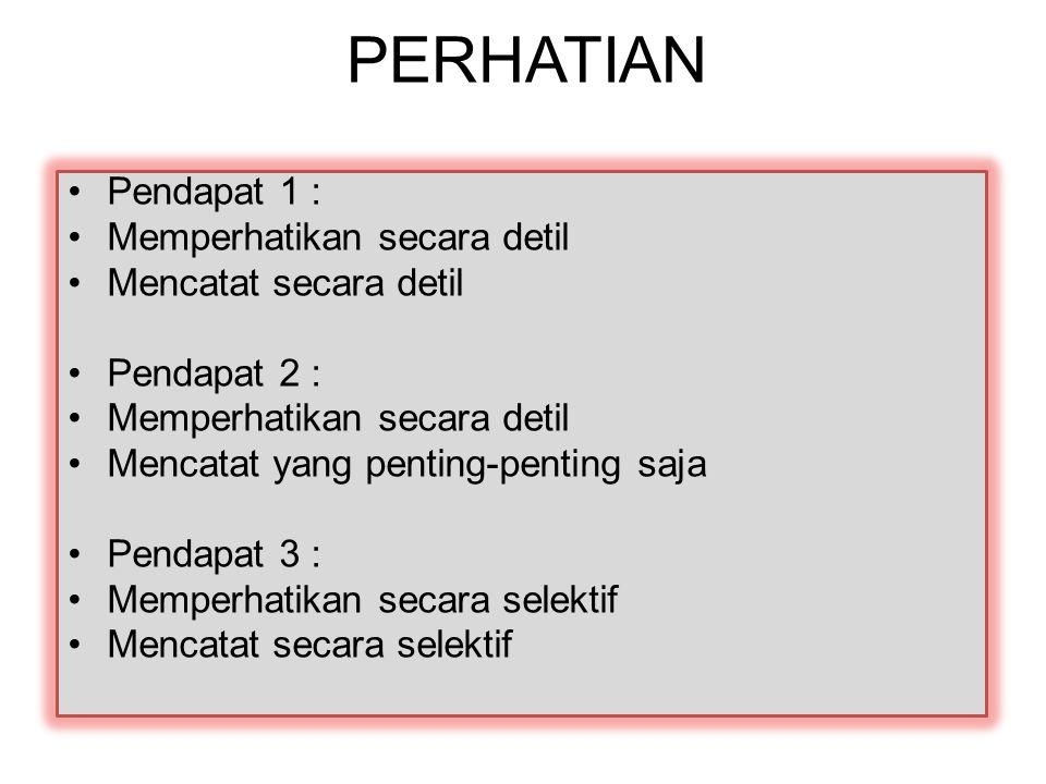 PERHATIAN Pendapat 1 : Memperhatikan secara detil Mencatat secara detil Pendapat 2 : Memperhatikan secara detil Mencatat yang penting-penting saja Pendapat 3 : Memperhatikan secara selektif Mencatat secara selektif