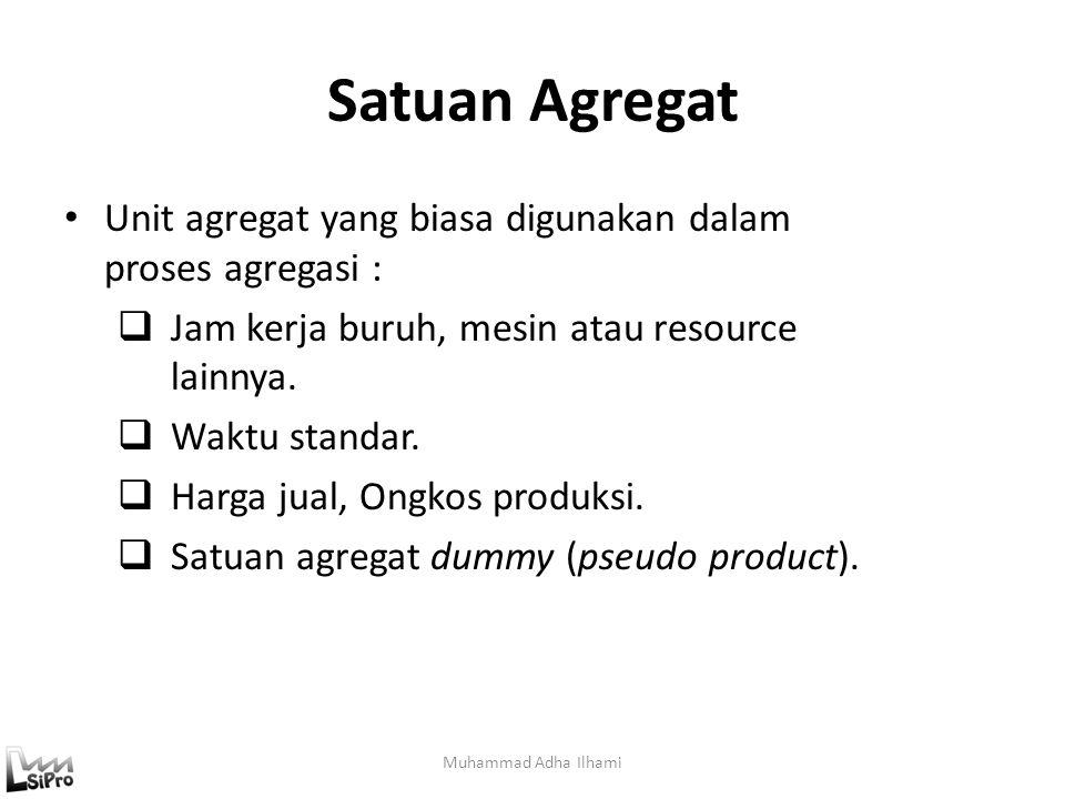 Satuan Agregat Muhammad Adha Ilhami Unit agregat yang biasa digunakan dalam proses agregasi :  Jam kerja buruh, mesin atau resource lainnya.  Waktu