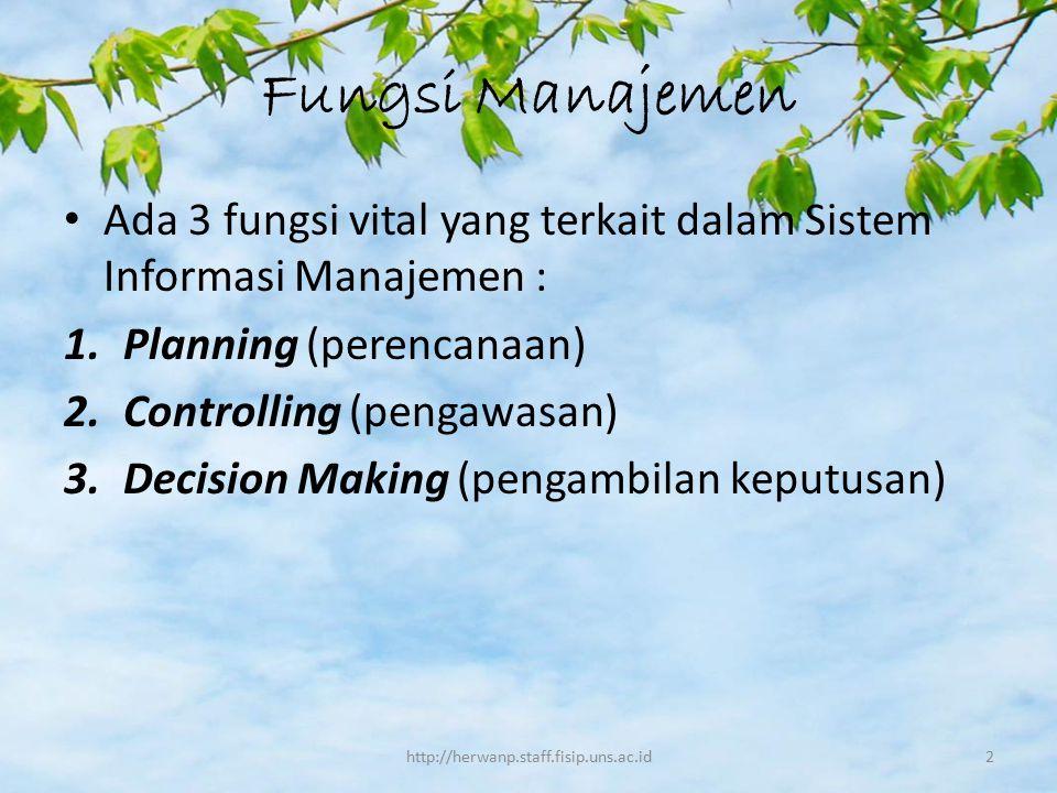 Fungsi Manajemen Ada 3 fungsi vital yang terkait dalam Sistem Informasi Manajemen : 1.Planning (perencanaan) 2.Controlling (pengawasan) 3.Decision Mak
