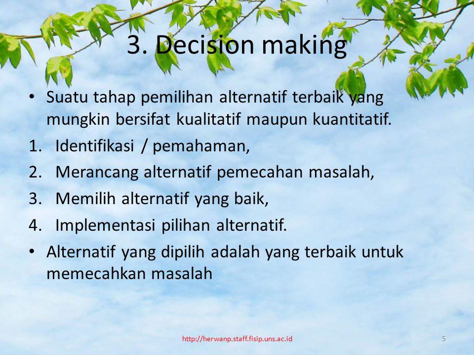 3. Decision making Suatu tahap pemilihan alternatif terbaik yang mungkin bersifat kualitatif maupun kuantitatif. 1.Identifikasi / pemahaman, 2.Meranca