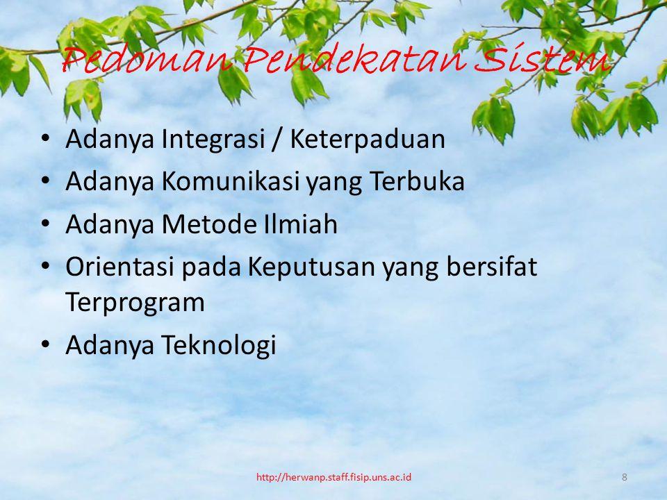 Pedoman Pendekatan Sistem Adanya Integrasi / Keterpaduan Adanya Komunikasi yang Terbuka Adanya Metode Ilmiah Orientasi pada Keputusan yang bersifat Te