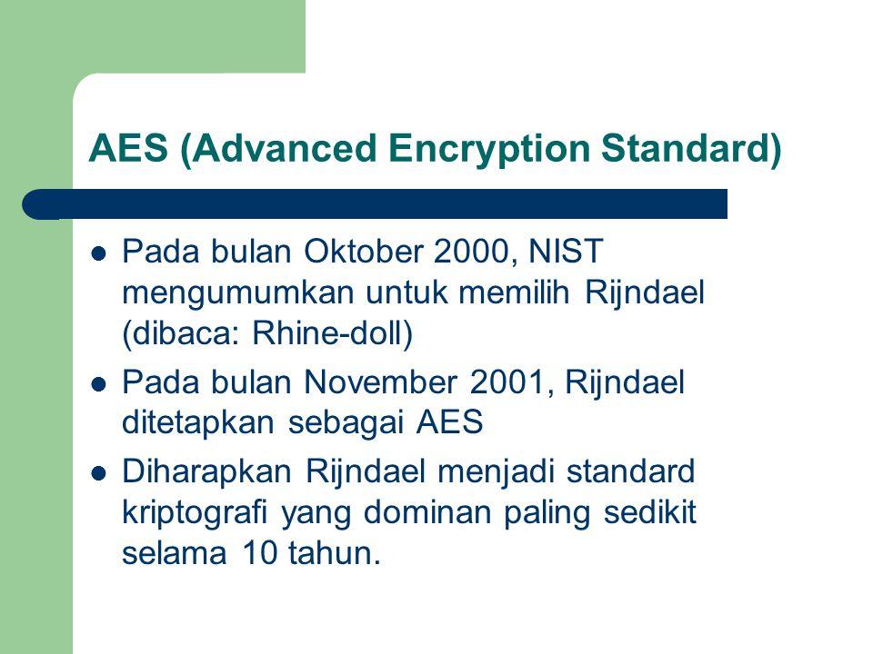 AES (Advanced Encryption Standard) Pada bulan Oktober 2000, NIST mengumumkan untuk memilih Rijndael (dibaca: Rhine-doll) Pada bulan November 2001, Rijndael ditetapkan sebagai AES Diharapkan Rijndael menjadi standard kriptografi yang dominan paling sedikit selama 10 tahun.