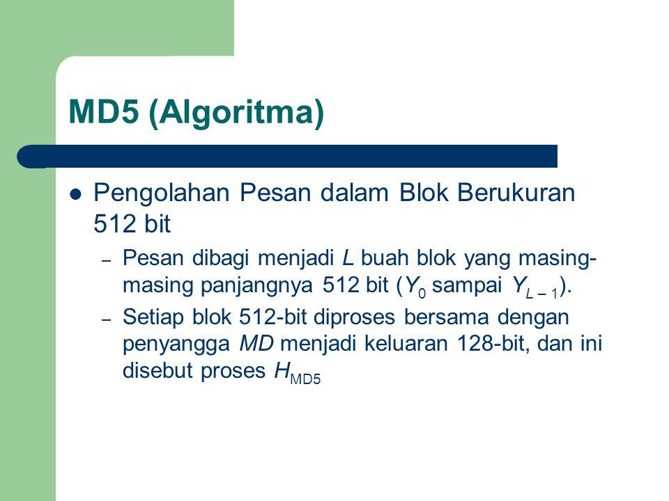 MD5 (Algoritma) Pengolahan Pesan dalam Blok Berukuran 512 bit – Pesan dibagi menjadi L buah blok yang masing- masing panjangnya 512 bit (Y 0 sampai Y L – 1 ).