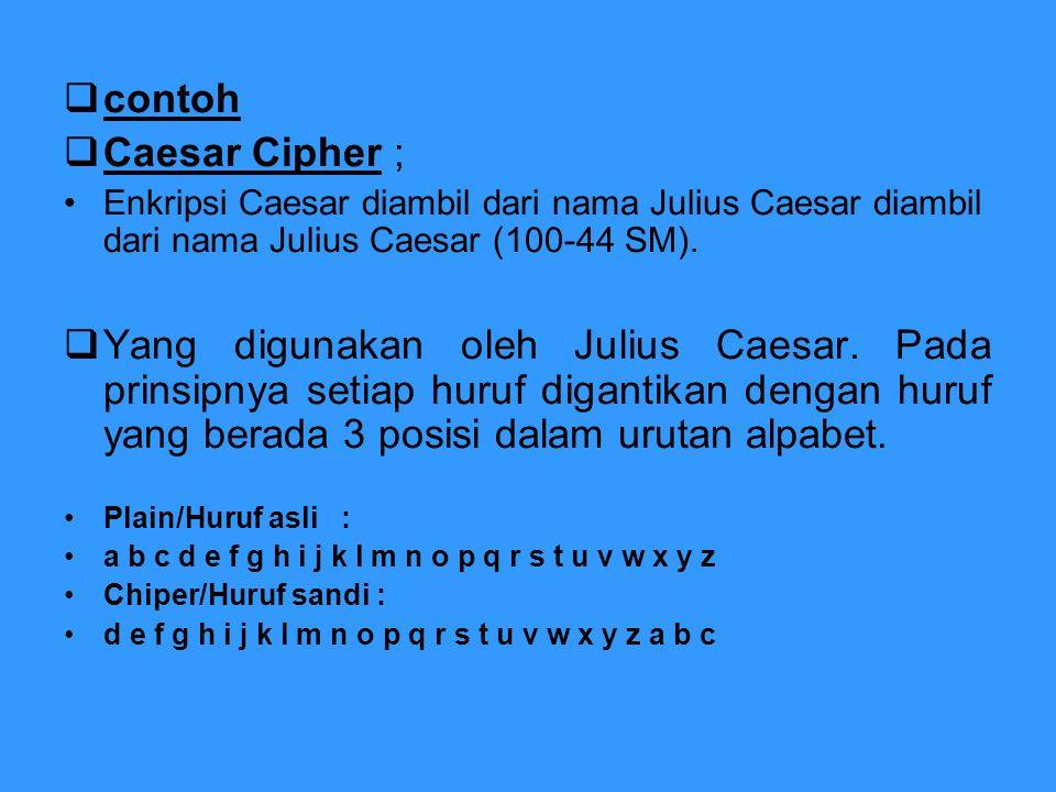  contoh  Caesar Cipher ; Enkripsi Caesar diambil dari nama Julius Caesar diambil dari nama Julius Caesar (100-44 SM).  Yang digunakan oleh Julius C