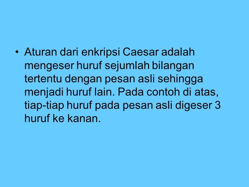 Aturan dari enkripsi Caesar adalah mengeser huruf sejumlah bilangan tertentu dengan pesan asli sehingga menjadi huruf lain. Pada contoh di atas, tiap-