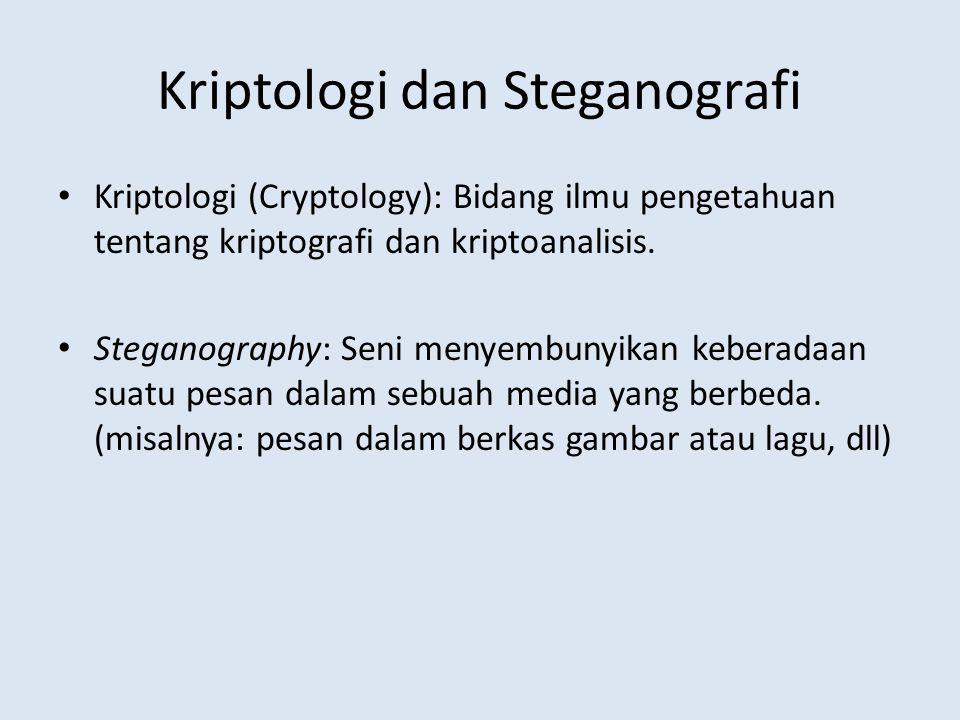 Kriptologi dan Steganografi Kriptologi (Cryptology): Bidang ilmu pengetahuan tentang kriptografi dan kriptoanalisis. Steganography: Seni menyembunyika