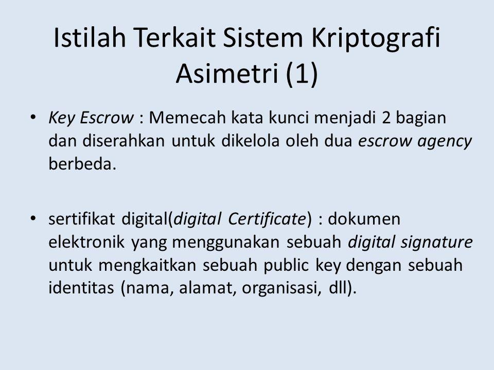 Istilah Terkait Sistem Kriptografi Asimetri (1) Key Escrow : Memecah kata kunci menjadi 2 bagian dan diserahkan untuk dikelola oleh dua escrow agency
